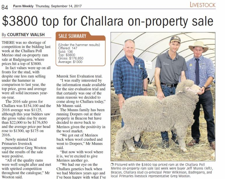 Farm Weekly Article on Challara